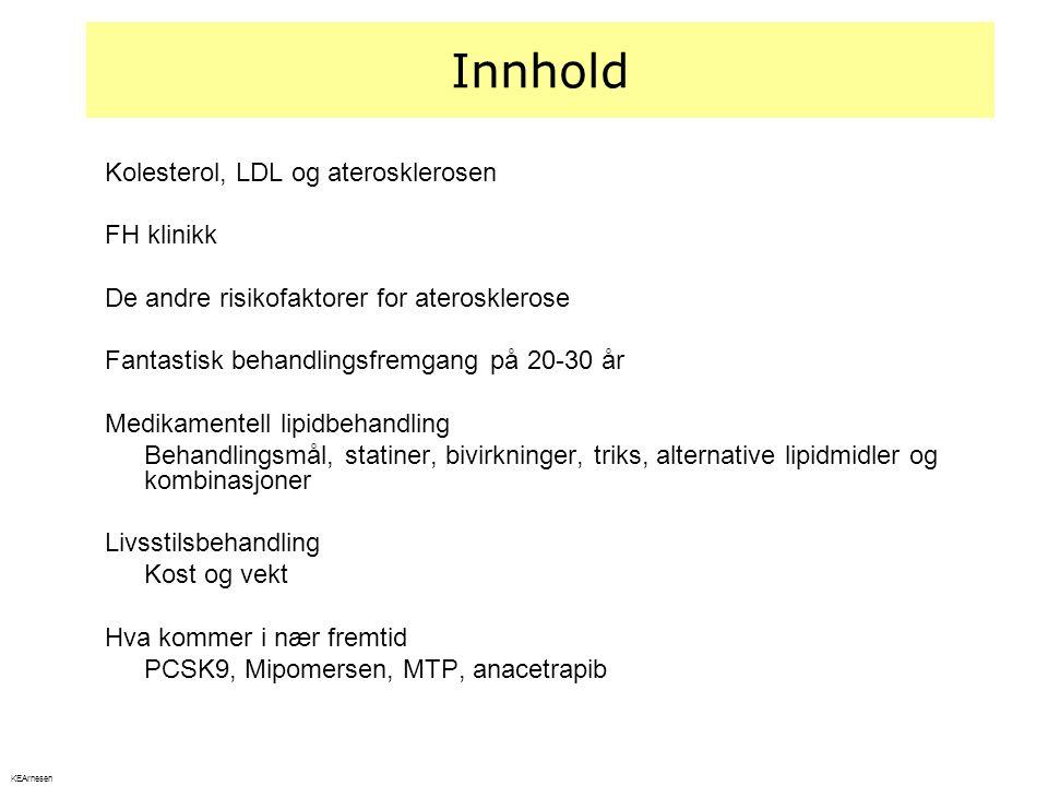 Innhold Kolesterol, LDL og aterosklerosen FH klinikk De andre risikofaktorer for aterosklerose Fantastisk behandlingsfremgang på 20-30 år Medikamentel