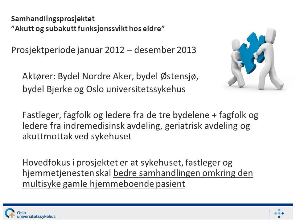 """Samhandlingsprosjektet """"Akutt og subakutt funksjonssvikt hos eldre"""" Prosjektperiode januar 2012 – desember 2013 Aktører: Bydel Nordre Aker, bydel Øste"""