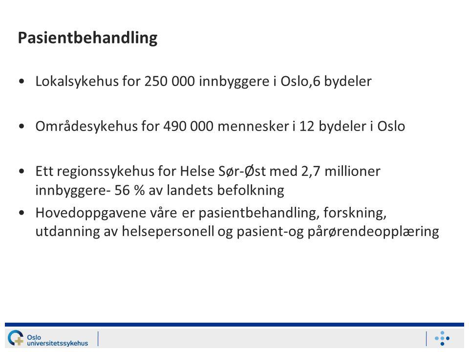 Pasientbehandling •Lokalsykehus for 250 000 innbyggere i Oslo,6 bydeler •Områdesykehus for 490 000 mennesker i 12 bydeler i Oslo •Ett regionssykehus f