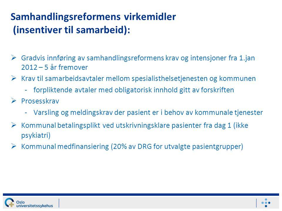 Samhandlingsreformens virkemidler (insentiver til samarbeid):  Gradvis innføring av samhandlingsreformens krav og intensjoner fra 1.jan 2012 – 5 år f