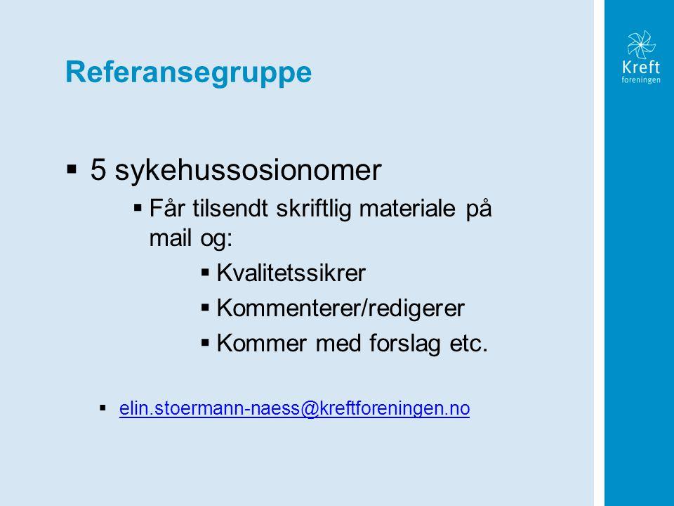 Referansegruppe  5 sykehussosionomer  Får tilsendt skriftlig materiale på mail og:  Kvalitetssikrer  Kommenterer/redigerer  Kommer med forslag et