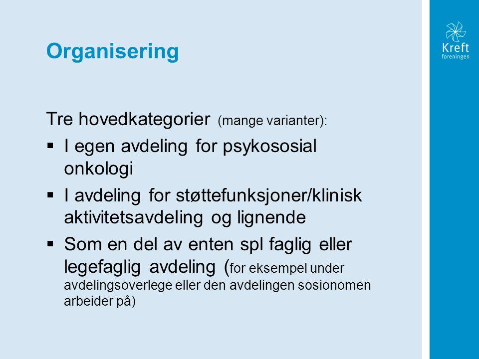 Organisering Tre hovedkategorier (mange varianter):  I egen avdeling for psykososial onkologi  I avdeling for støttefunksjoner/klinisk aktivitetsavd
