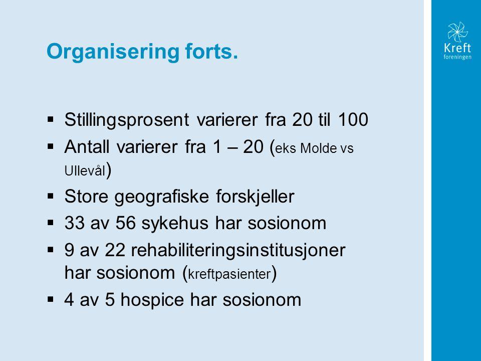 Organisering forts.  Stillingsprosent varierer fra 20 til 100  Antall varierer fra 1 – 20 ( eks Molde vs Ullevål )  Store geografiske forskjeller 