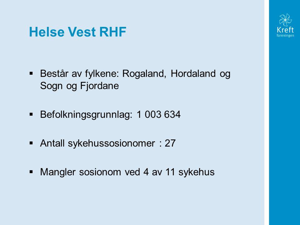 Helse Vest RHF  Består av fylkene: Rogaland, Hordaland og Sogn og Fjordane  Befolkningsgrunnlag: 1 003 634  Antall sykehussosionomer : 27  Mangler