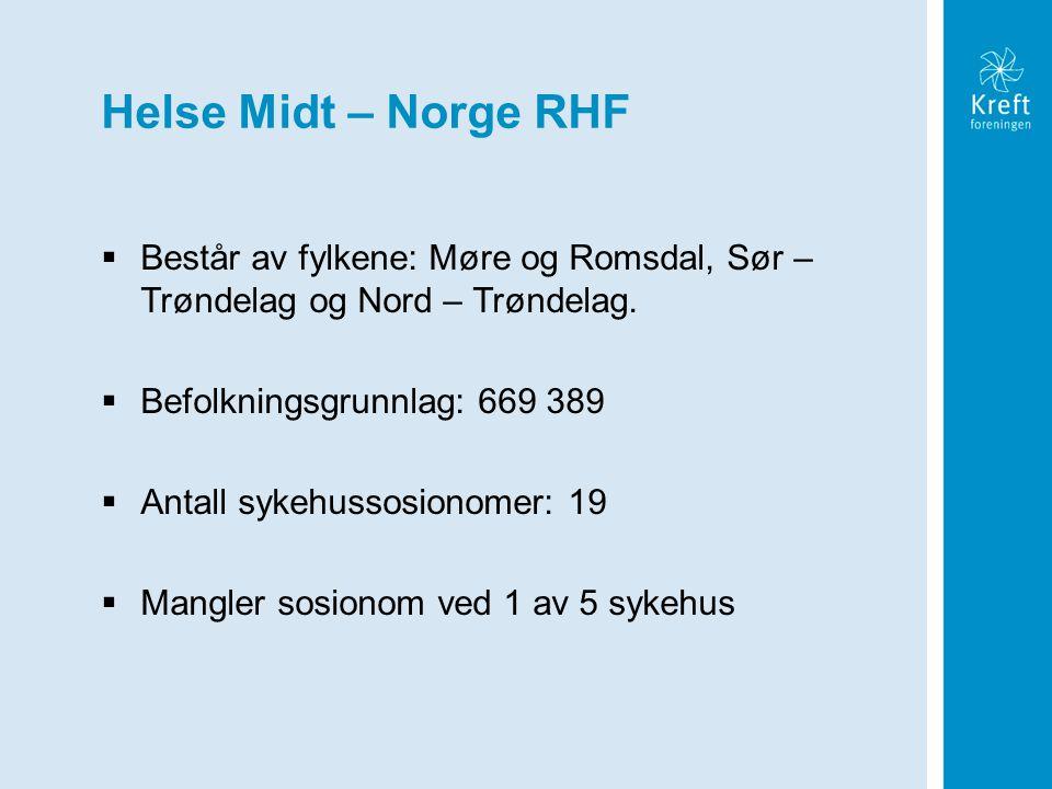 Helse Midt – Norge RHF  Består av fylkene: Møre og Romsdal, Sør – Trøndelag og Nord – Trøndelag.  Befolkningsgrunnlag: 669 389  Antall sykehussosio