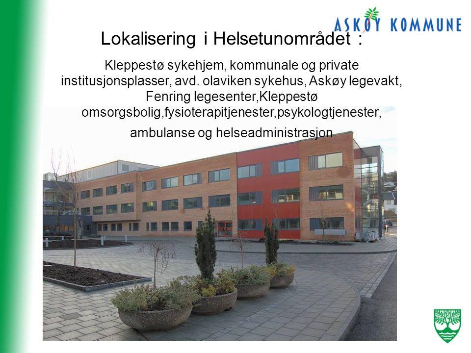 Lokalisering i Helsetunområdet : Kleppestø sykehjem, kommunale og private institusjonsplasser, avd.