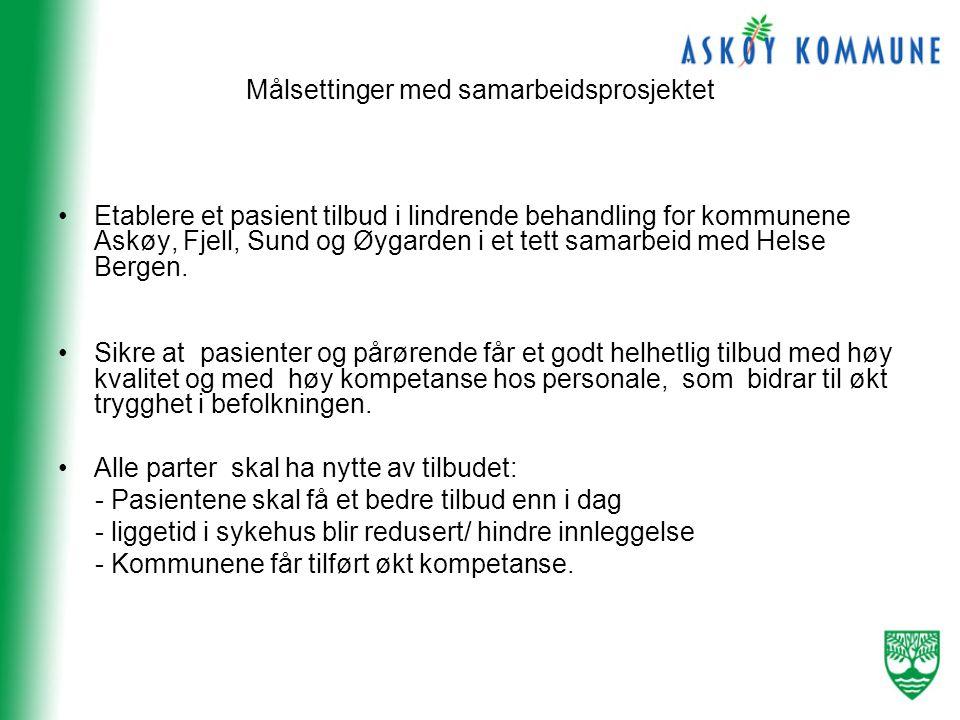 Målsettinger med samarbeidsprosjektet •Etablere et pasient tilbud i lindrende behandling for kommunene Askøy, Fjell, Sund og Øygarden i et tett samarbeid med Helse Bergen.
