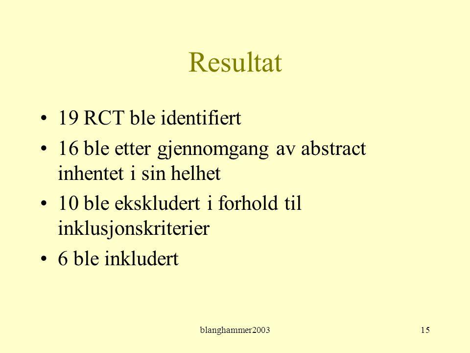 blanghammer200315 Resultat •19 RCT ble identifiert •16 ble etter gjennomgang av abstract inhentet i sin helhet •10 ble ekskludert i forhold til inklus