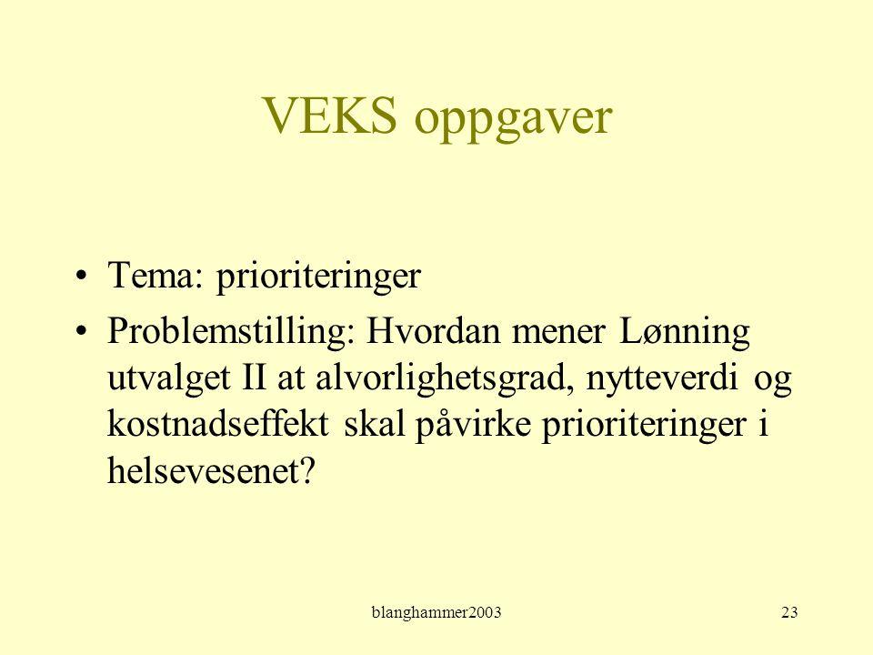 blanghammer200323 VEKS oppgaver •Tema: prioriteringer •Problemstilling: Hvordan mener Lønning utvalget II at alvorlighetsgrad, nytteverdi og kostnadse