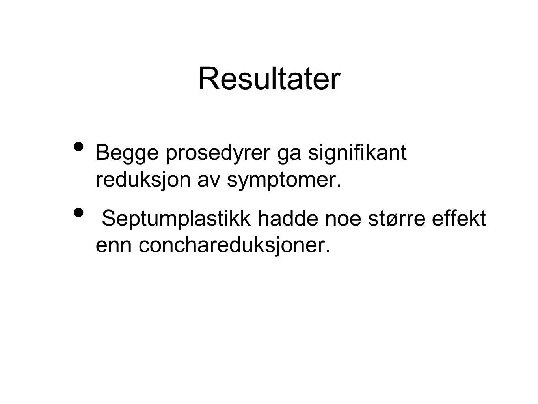 Resultater • Begge prosedyrer ga signifikant reduksjon av symptomer.