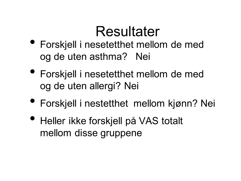 • Forskjell i nesetetthet mellom de med og de uten asthma.