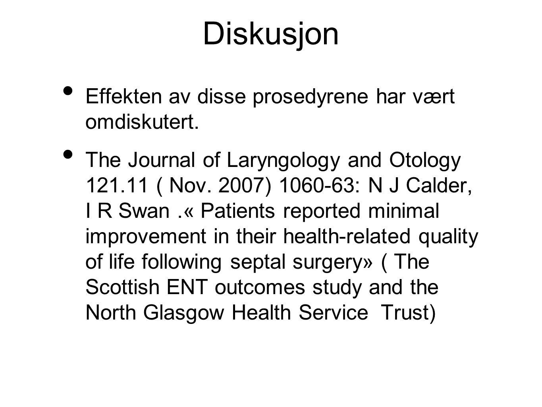 Diskusjon • Effekten av disse prosedyrene har vært omdiskutert.