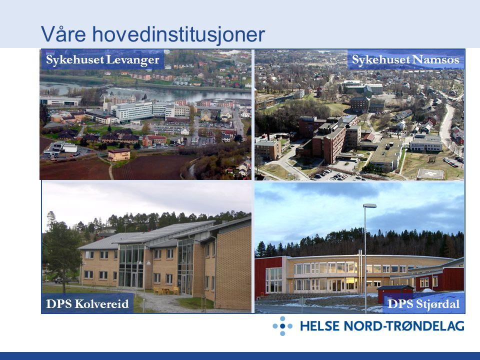 Våre hovedinstitusjoner DPS StjørdalDPS Kolvereid Sykehuset LevangerSykehuset Namsos