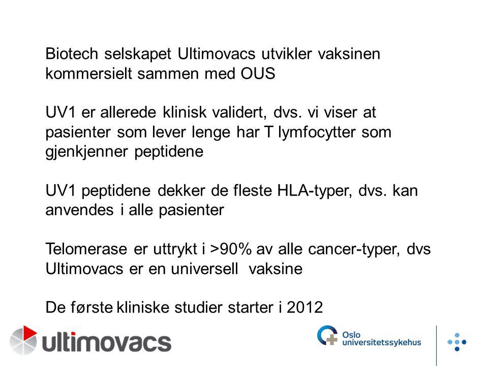 Biotech selskapet Ultimovacs utvikler vaksinen kommersielt sammen med OUS UV1 er allerede klinisk validert, dvs. vi viser at pasienter som lever lenge