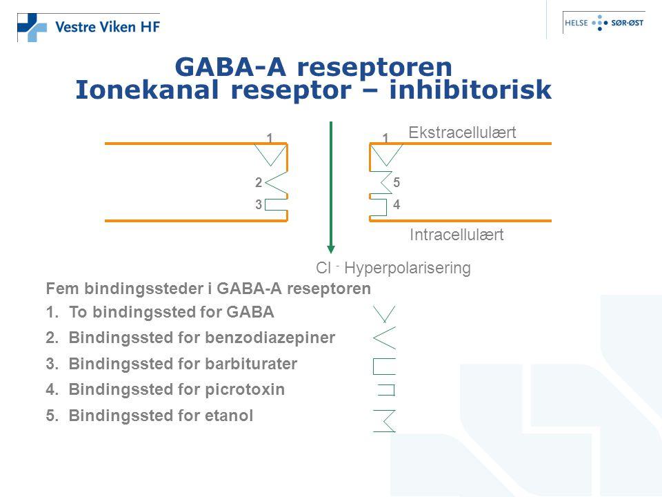 GABA-A reseptoren Ionekanal reseptor – inhibitorisk 11 2 34 5 Ekstracellulært Intracellulært Cl - Hyperpolarisering Fem bindingssteder i GABA-A resept