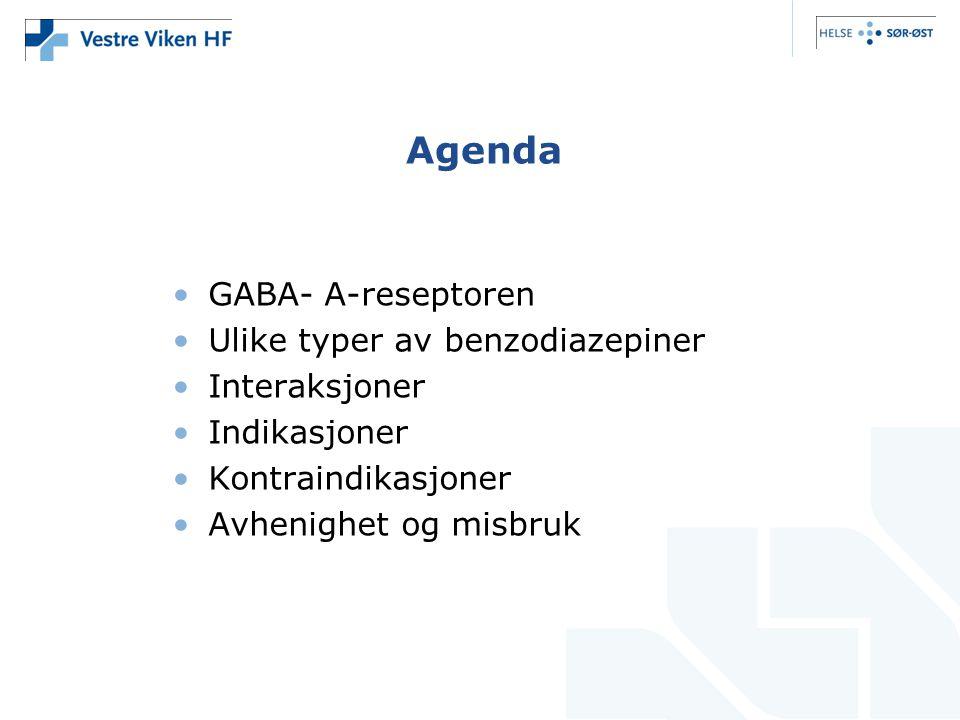 Agenda •GABA- A-reseptoren •Ulike typer av benzodiazepiner •Interaksjoner •Indikasjoner •Kontraindikasjoner •Avhenighet og misbruk