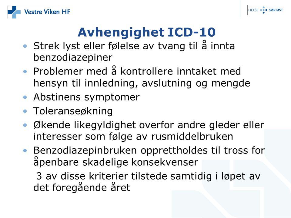 Avhengighet ICD-10 •Strek lyst eller følelse av tvang til å innta benzodiazepiner •Problemer med å kontrollere inntaket med hensyn til innledning, avs