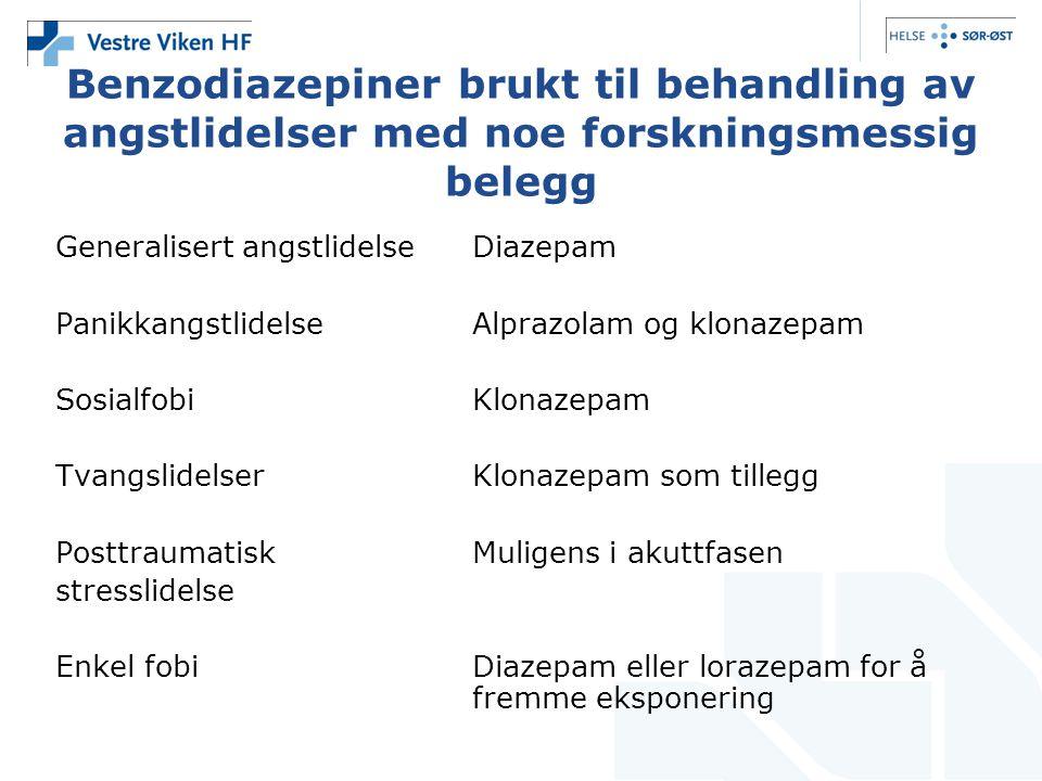 Benzodiazepiner brukt til behandling av angstlidelser med noe forskningsmessig belegg Generalisert angstlidelseDiazepam PanikkangstlidelseAlprazolam o