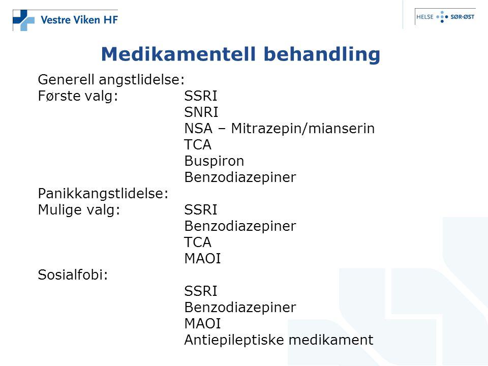 Medikamentell behandling Generell angstlidelse: Første valg:SSRI SNRI NSA – Mitrazepin/mianserin TCA Buspiron Benzodiazepiner Panikkangstlidelse: Muli