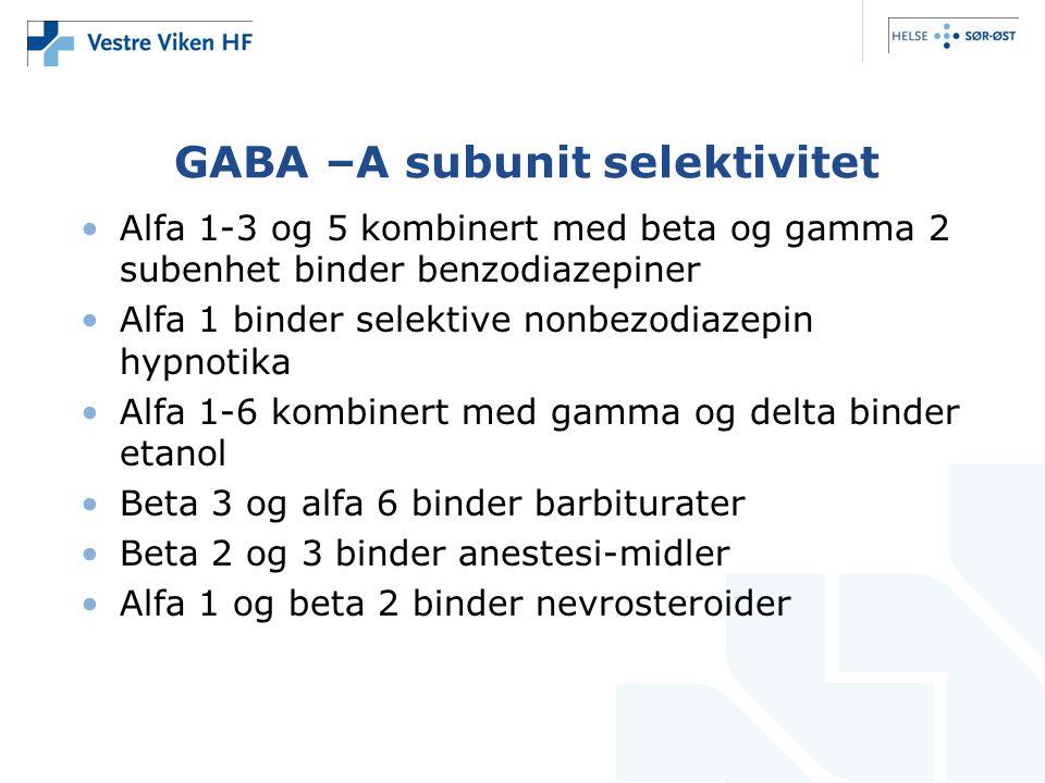 GABA –A subunit selektivitet •Alfa 1-3 og 5 kombinert med beta og gamma 2 subenhet binder benzodiazepiner •Alfa 1 binder selektive nonbezodiazepin hyp