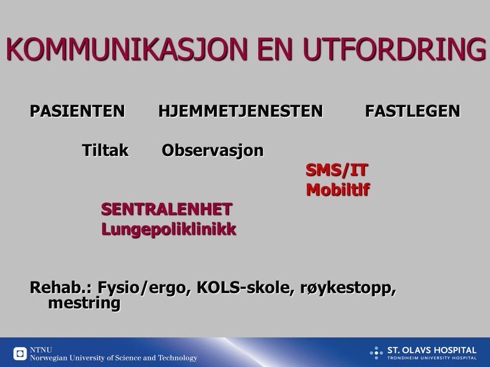 KOMMUNIKASJON EN UTFORDRING PASIENTEN HJEMMETJENESTEN FASTLEGEN Tiltak Observasjon Tiltak Observasjon SMS/IT SMS/IT Mobiltlf Mobiltlf SENTRALENHET SENTRALENHET Lungepoliklinikk Lungepoliklinikk Rehab.: Fysio/ergo, KOLS-skole, røykestopp, mestring