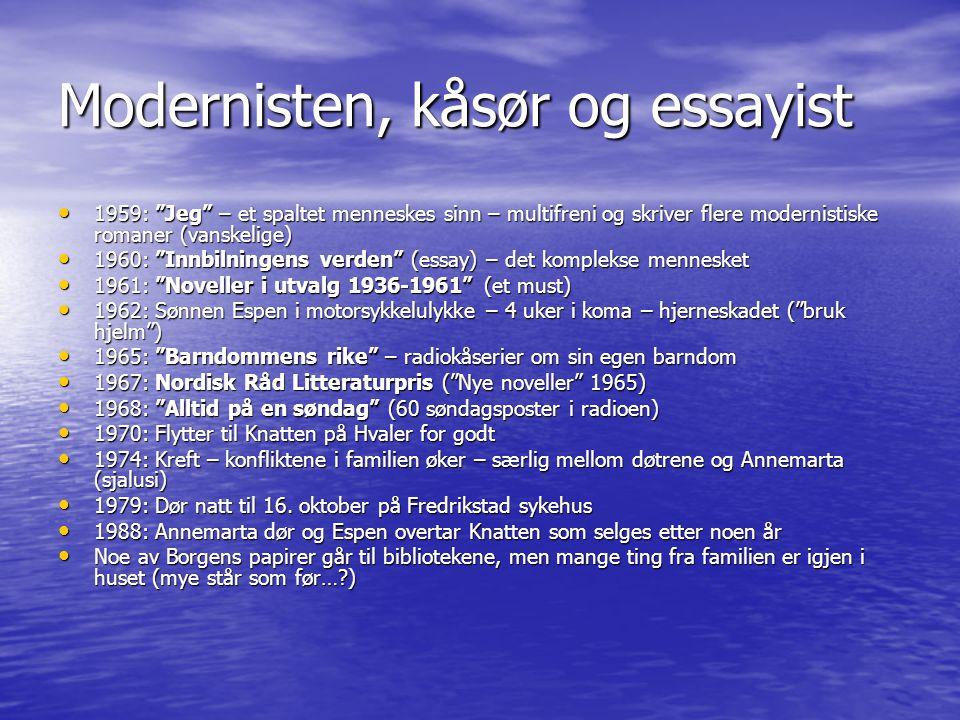 """Modernisten, kåsør og essayist • 1959: """"Jeg"""" – et spaltet menneskes sinn – multifreni og skriver flere modernistiske romaner (vanskelige) • 1960: """"Inn"""