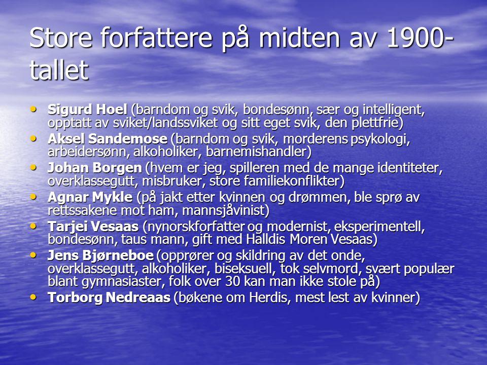 Store forfattere på midten av 1900- tallet • Sigurd Hoel (barndom og svik, bondesønn, sær og intelligent, opptatt av sviket/landssviket og sitt eget s