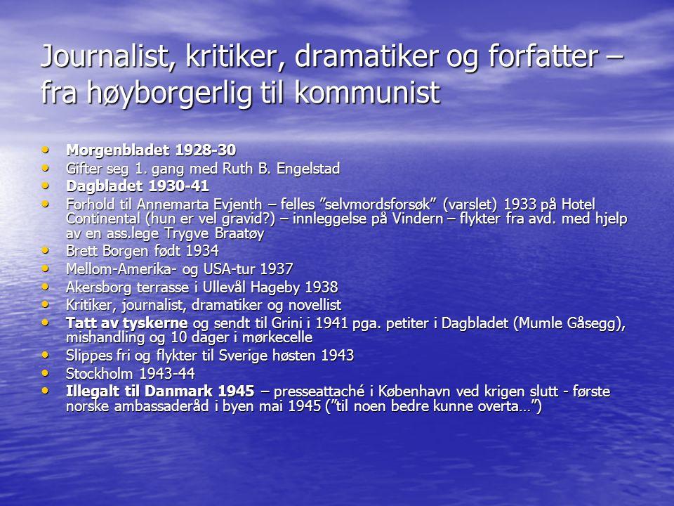 Journalist, kritiker, dramatiker og forfatter – fra høyborgerlig til kommunist • Morgenbladet 1928-30 • Gifter seg 1. gang med Ruth B. Engelstad • Dag