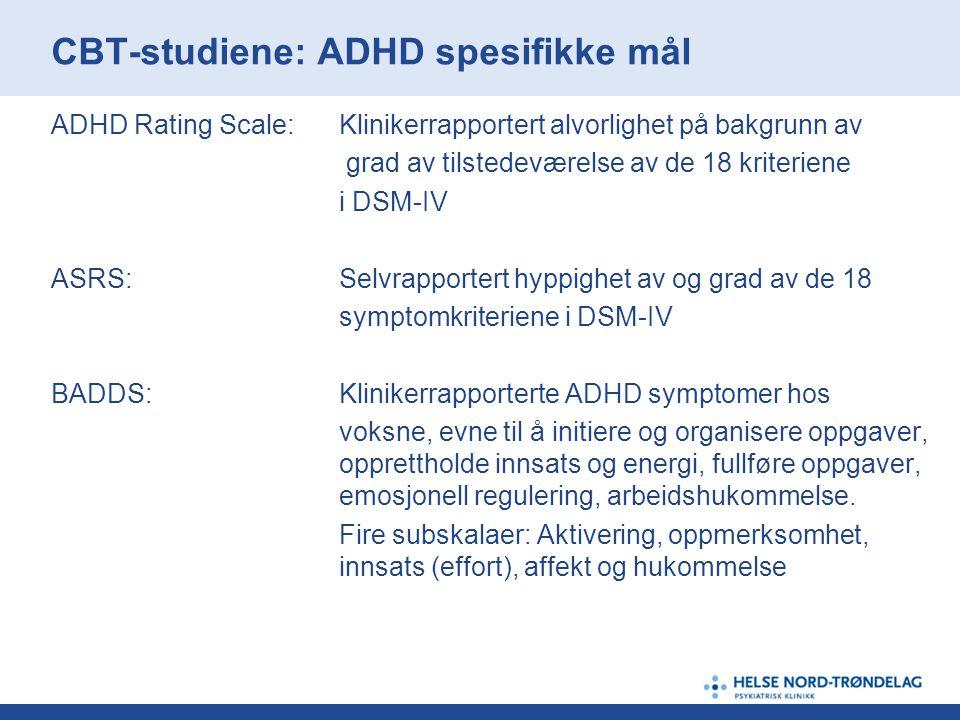 CBT-studiene: ADHD spesifikke mål ADHD Rating Scale:Klinikerrapportert alvorlighet på bakgrunn av grad av tilstedeværelse av de 18 kriteriene i DSM-IV