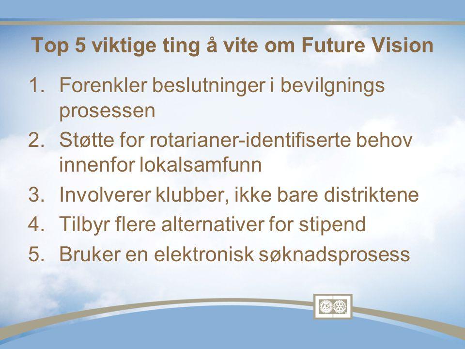 1.Forenkler beslutninger i bevilgnings prosessen 2.Støtte for rotarianer-identifiserte behov innenfor lokalsamfunn 3.Involverer klubber, ikke bare distriktene 4.Tilbyr flere alternativer for stipend 5.Bruker en elektronisk søknadsprosess Top 5 viktige ting å vite om Future Vision