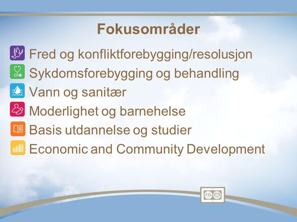Fokusområder •Fred og konfliktforebygging/resolusjon •Sykdomsforebygging og behandling •Vann og sanitær •Moderlighet og barnehelse •Basis utdannelse og studier •Economic and Community Development