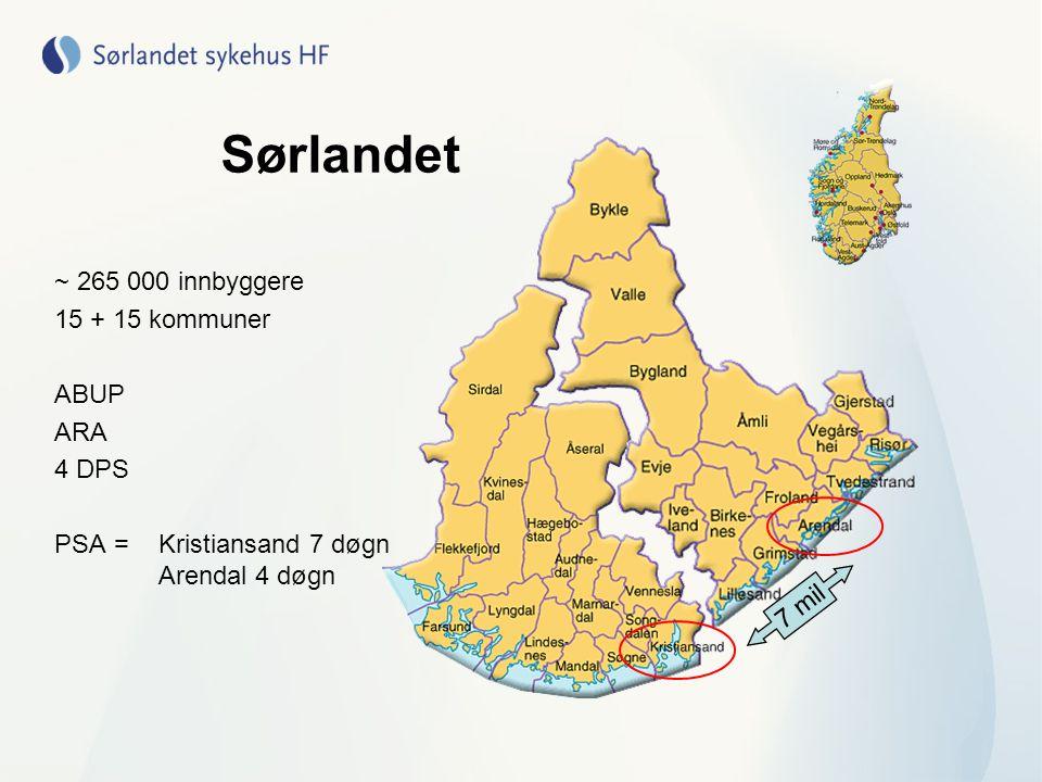 Arendal Post Bjorbekk Enhet med 10 plasser Unge (< 35 år) med schizofreni Populasjon 100 000 Kristiansand Post 7.1 Enhet 16 plasser Populasjon 165 000 Post Bjorbekk 8 døgn 4 dagpasientplasser Post 2.1N 7 plasser sammen med like stor allm.psyk.