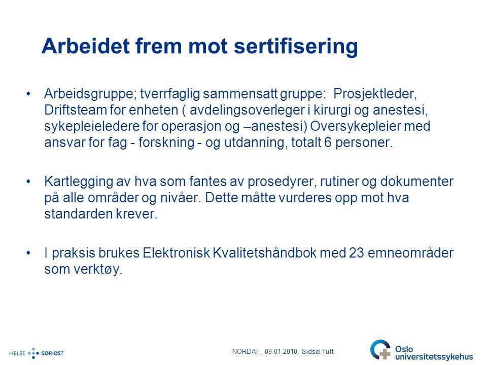 NORDAF, 09.01.2010, Sidsel Tuft Kvalitetsmål for Dagkirurgisk enhet •Pasienttilfredshet: Mer enn 90 % av pasientene skal være fornøyd.