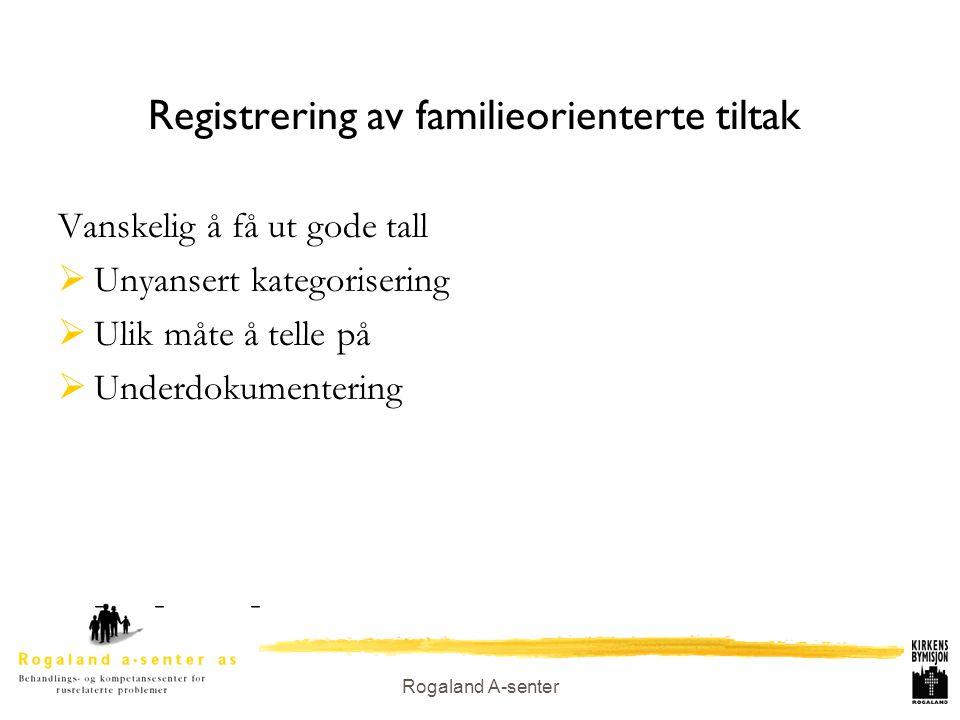 Rogaland A-senter Registrering av familieorienterte tiltak Vanskelig å få ut gode tall  Unyansert kategorisering  Ulik måte å telle på  Underdokume