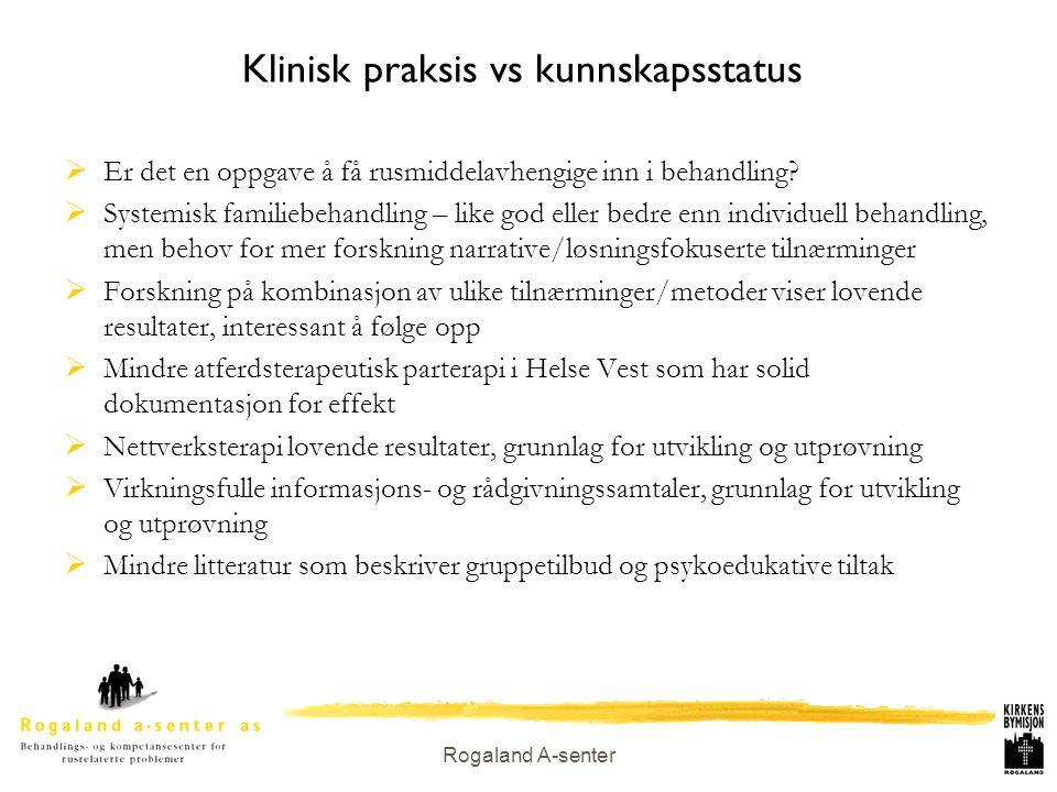 Rogaland A-senter Klinisk praksis vs kunnskapsstatus  Er det en oppgave å få rusmiddelavhengige inn i behandling?  Systemisk familiebehandling – lik