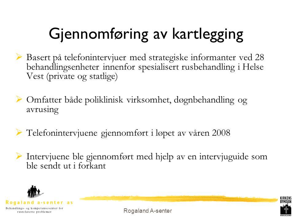 Rogaland A-senter Gjennomføring av kartlegging  Basert på telefonintervjuer med strategiske informanter ved 28 behandlingsenheter innenfor spesialise