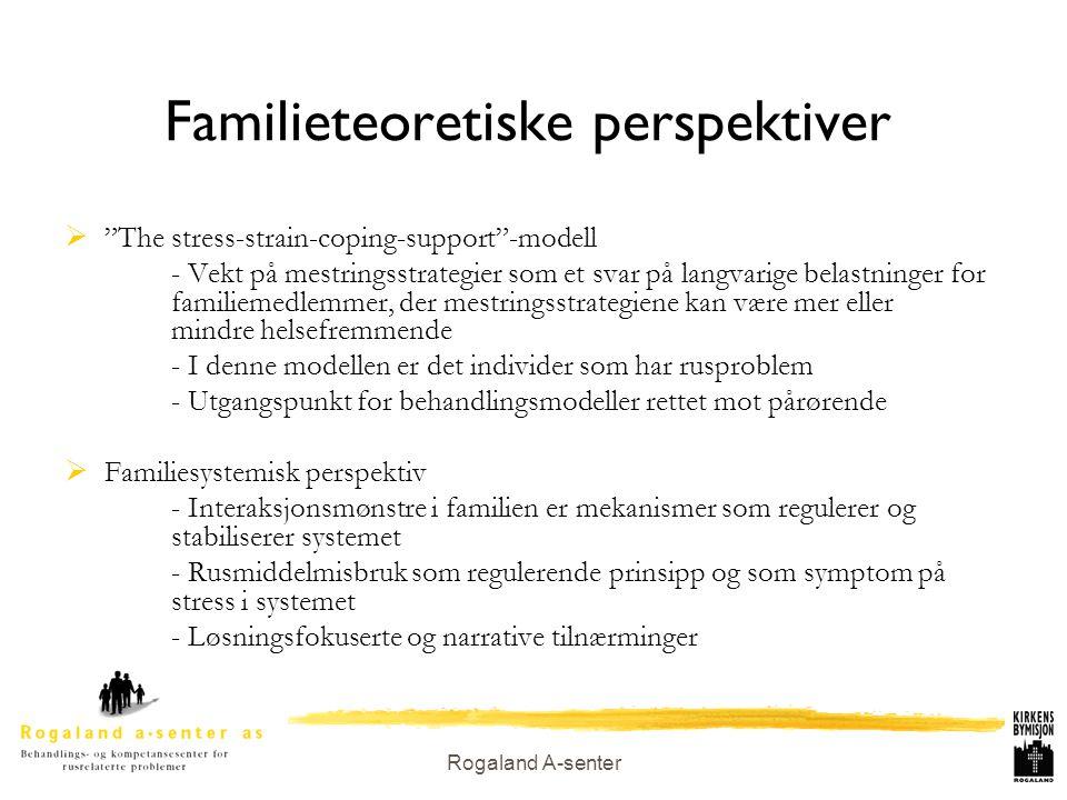 """Rogaland A-senter Familieteoretiske perspektiver  """"The stress-strain-coping-support""""-modell - Vekt på mestringsstrategier som et svar på langvarige b"""