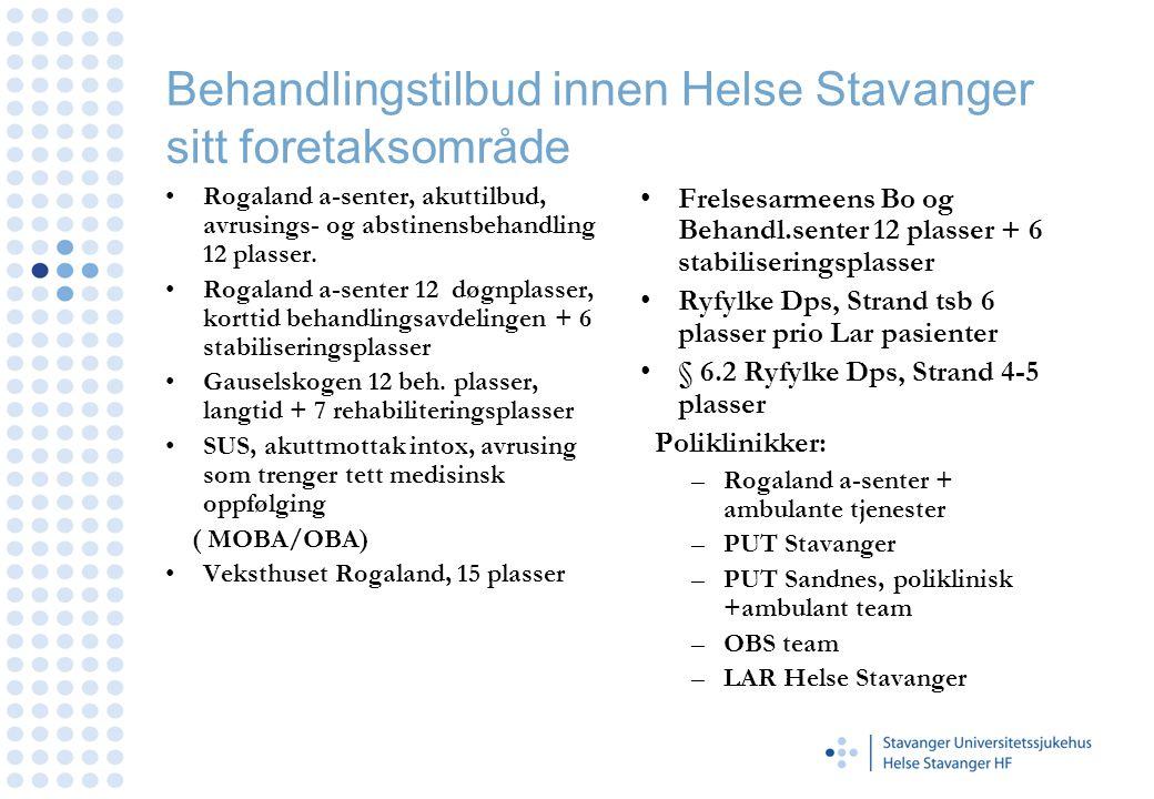 Behandlingstilbud innen Helse Stavanger sitt foretaksområde •Rogaland a-senter, akuttilbud, avrusings- og abstinensbehandling 12 plasser. •Rogaland a-