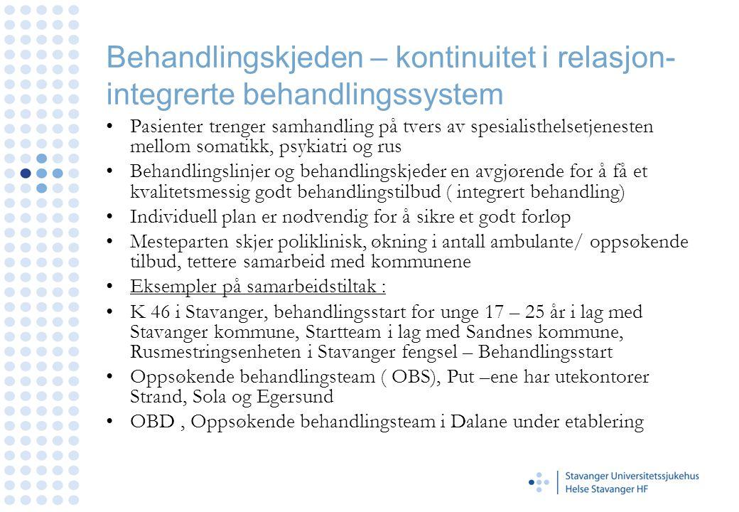 Behandlingskjeden – kontinuitet i relasjon- integrerte behandlingssystem •Pasienter trenger samhandling på tvers av spesialisthelsetjenesten mellom so
