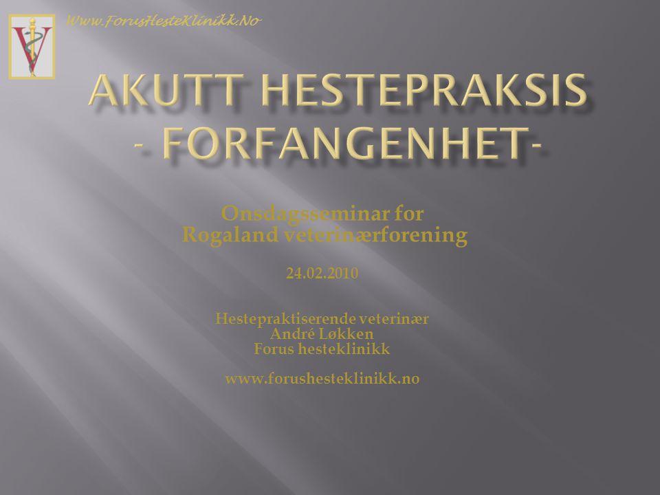Onsdagsseminar for Rogaland veterinærforening 24.02.2010 Hestepraktiserende veterinær André Løkken Forus hesteklinikk www.forushesteklinikk.no Www.For