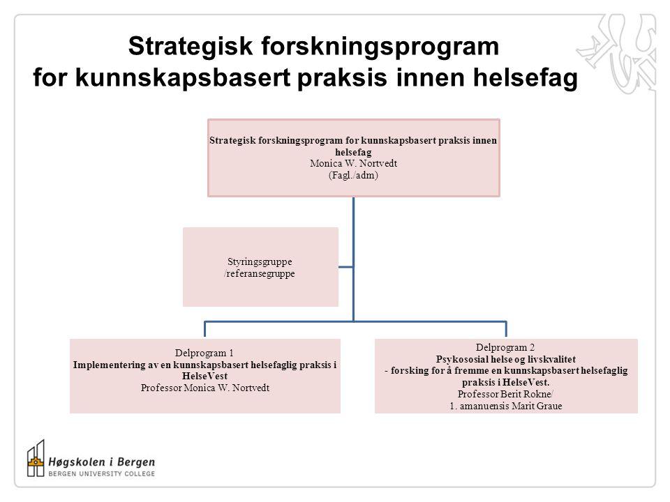 Strategisk forskningsprogram for kunnskapsbasert praksis innen helsefag Monica W. Nortvedt (Fagl./adm) Delprogram 1 Implementering av en kunnskapsbase