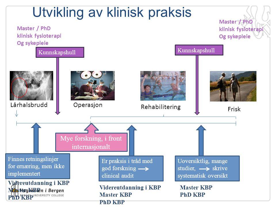 Utvikling av klinisk praksis LårhalsbruddOperasjon Frisk Rehabilitering Finnes retningslinjer for ernæring, men ikke implementert Videreutdanning i KB