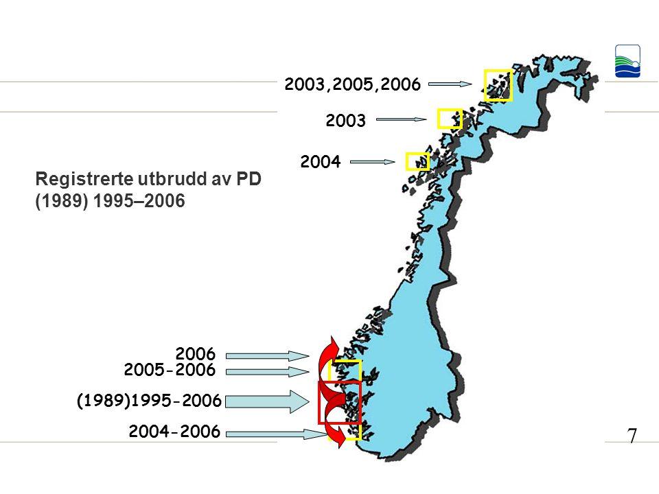 Registrerte utbrudd av PD (1989) 1995–2006 2003,2005,2006 2003 2004 2004-2006 (1989)1995-2006 2005-2006 2006 7