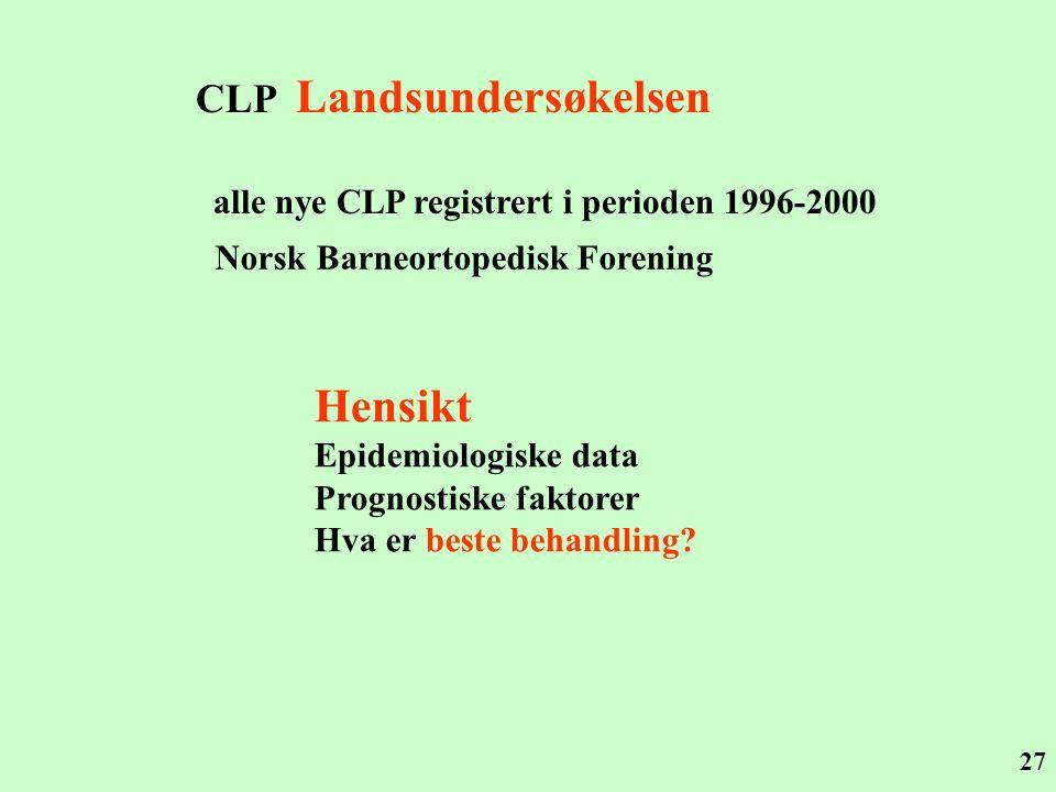 27 CLP Landsundersøkelsen alle nye CLP registrert i perioden 1996-2000 Norsk Barneortopedisk Forening Hensikt Epidemiologiske data Prognostiske faktor