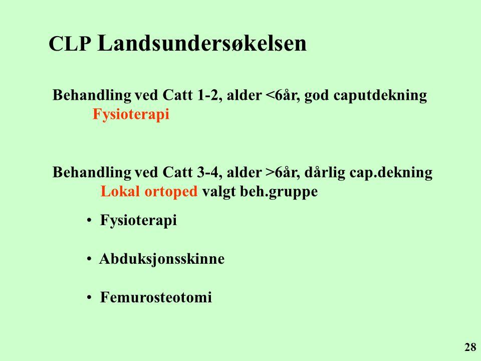 28 CLP Landsundersøkelsen Behandling ved Catt 1-2, alder <6år, god caputdekning Fysioterapi Behandling ved Catt 3-4, alder >6år, dårlig cap.dekning Lo