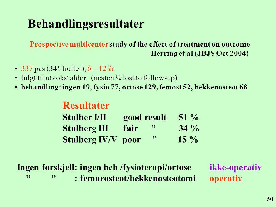 30 Behandlingsresultater Prospective multicenter study of the effect of treatment on outcome Herring et al (JBJS Oct 2004) • 337 pas (345 hofter), 6 –
