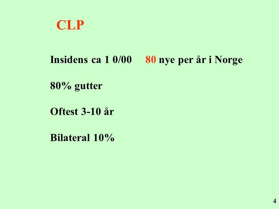 4 CLP Insidens ca 1 0/00 80 nye per år i Norge 80% gutter Oftest 3-10 år Bilateral 10%