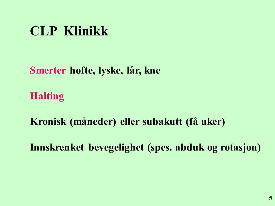 5 CLP Klinikk Smerter hofte, lyske, lår, kne Halting Kronisk (måneder) eller subakutt (få uker) Innskrenket bevegelighet (spes. abduk og rotasjon)