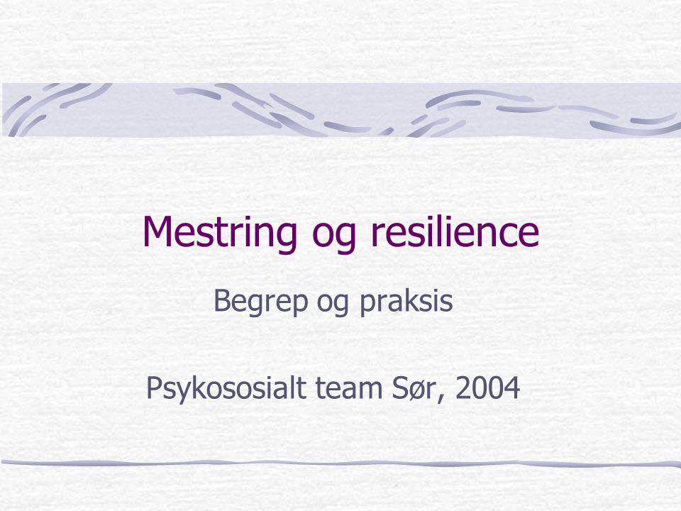 Mestring og resilience Begrep og praksis Psykososialt team Sør, 2004
