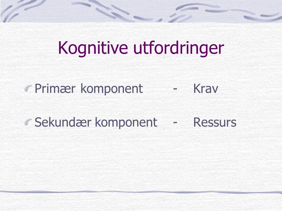 Kognitive utfordringer Primærkomponent -Krav Sekundær komponent -Ressurs
